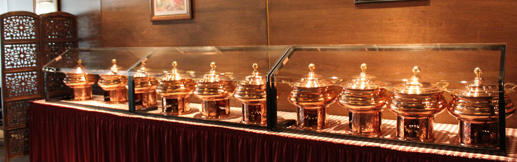 Buffet dishes in place for our daily buffet.