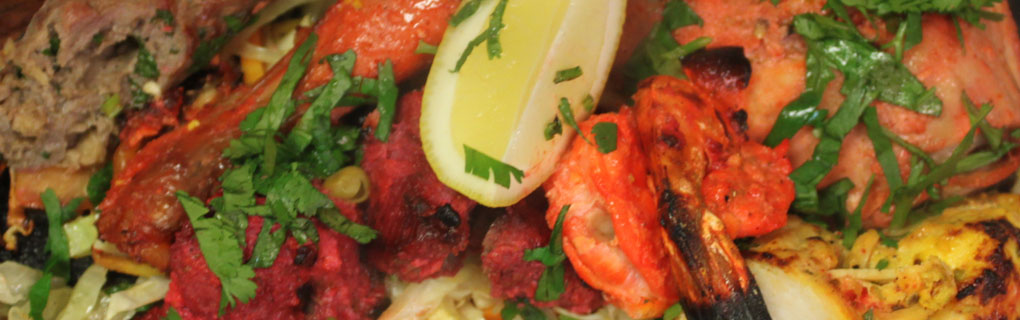 Chicken Tandoori, Chicken Tikka, Boti Kabab, Seekh kabab and Tandoori Shrimp.